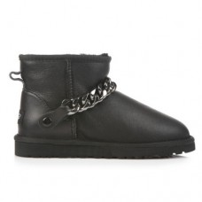 Купить UGG Classic Mini Chain Metallic Leather Black в Украине