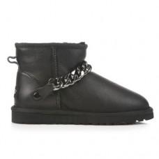 UGG Classic Mini Chain Metallic Leather Black