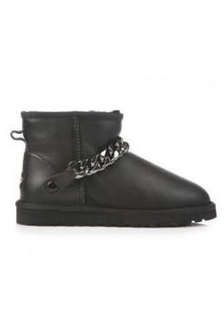 Купить UGG Classic Mini Chain Metallic Leather Black В Украине