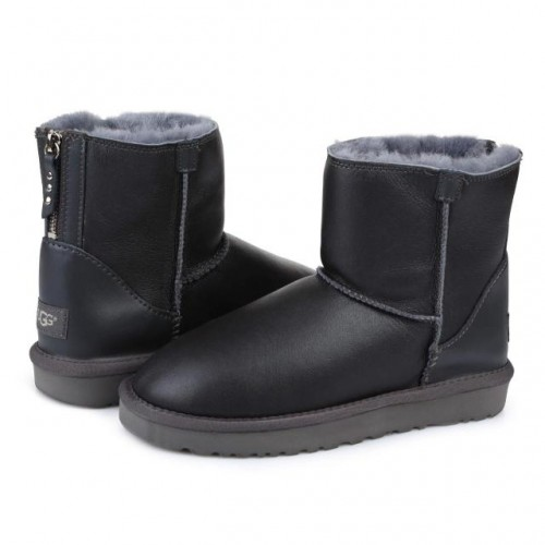 UGG Australia Classic Mini Zip Leather Grey