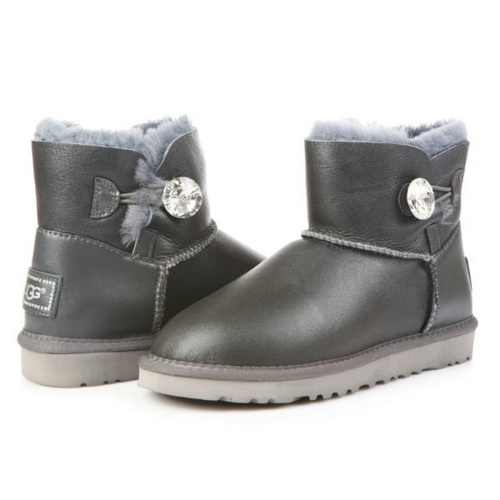 UGG Bailey Button Mini Bling Leather Gray