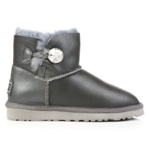 Купить UGG Bailey Button Mini Bling Leather Gray в Украине