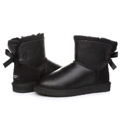 UGG Mini Bailey Bow Leather Black