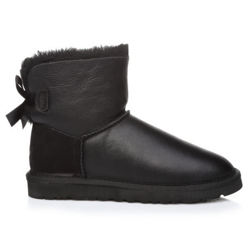 Купить UGG Mini Bailey Bow Leather Black в Украине