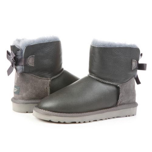 UGG Mini Bailey Bow Leather Grey