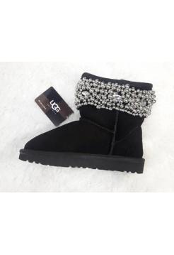 Купить Угги из шерсти Classic Short Mini черные с бусами В Украине